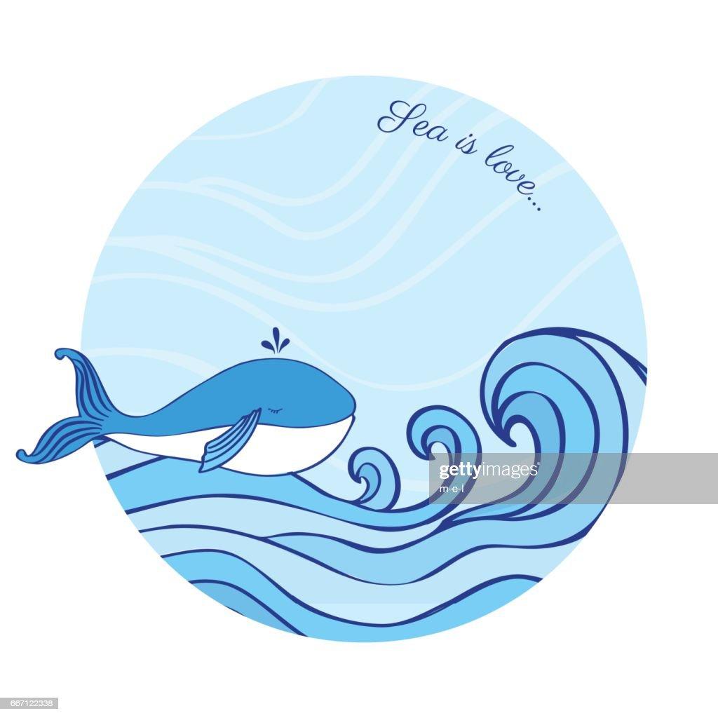 Walcartoon Illustration Isoliert Auf Blaue Welle Hintergrund Vektor ...