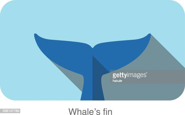 whale fin flat icon design - whales stock illustrations, clip art, cartoons, & icons