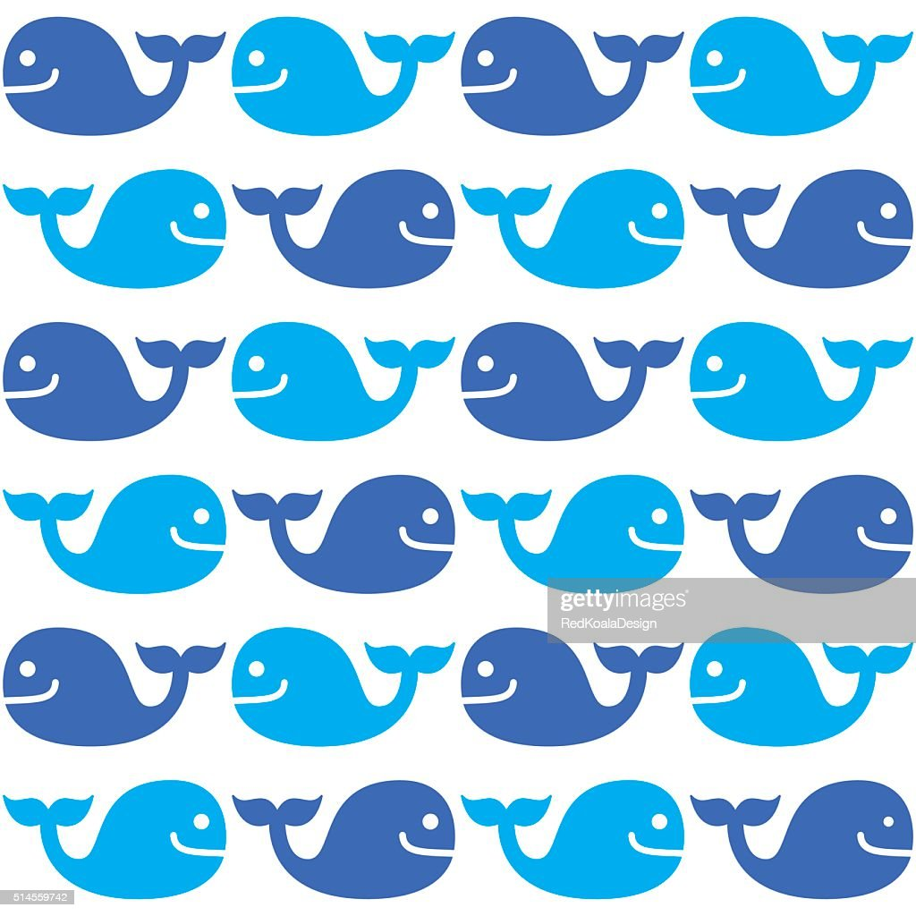 Whale seamless blue pattern on white