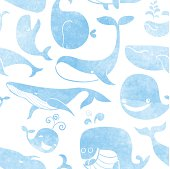 Whale. Seamless pattern. Water color background.