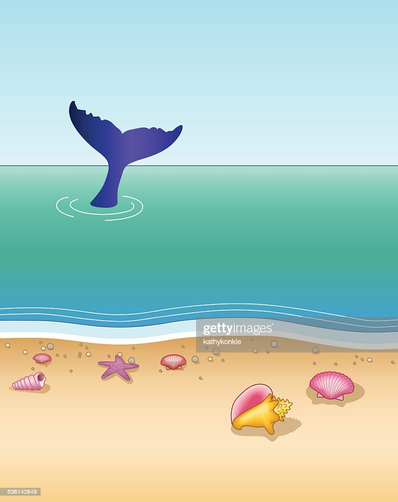 whale tail seen from a tropical beach vertical in color : stock illustration