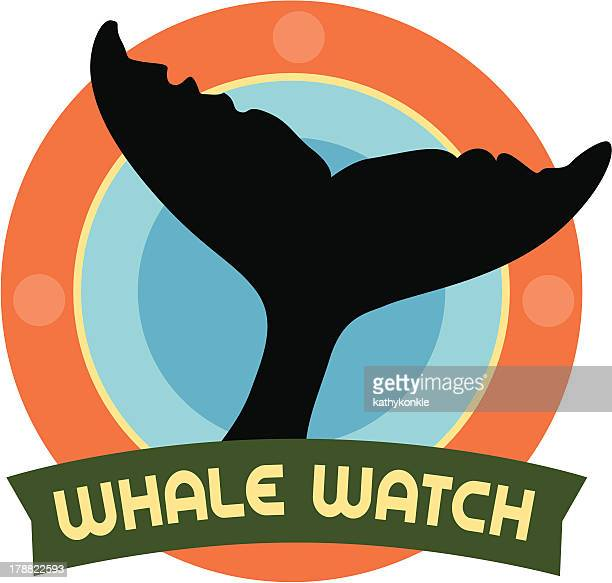 whale watch travel sticker or luggage label - whales stock illustrations, clip art, cartoons, & icons