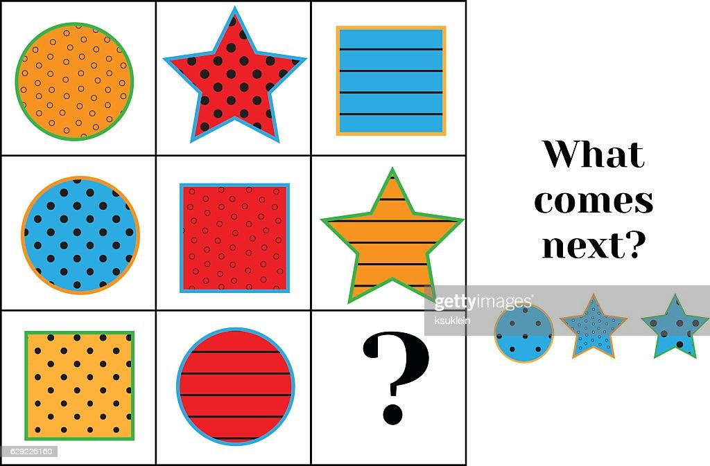 What comes next educational children game. Kids activity sheet, training