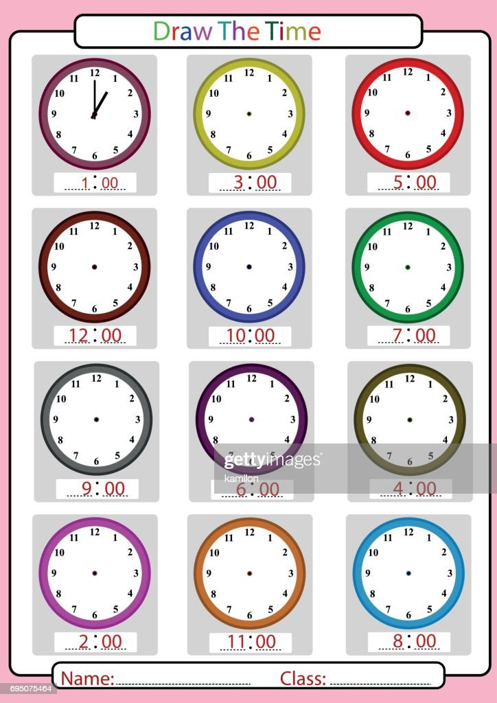 what is the time, draw the hands, worksheet for kids