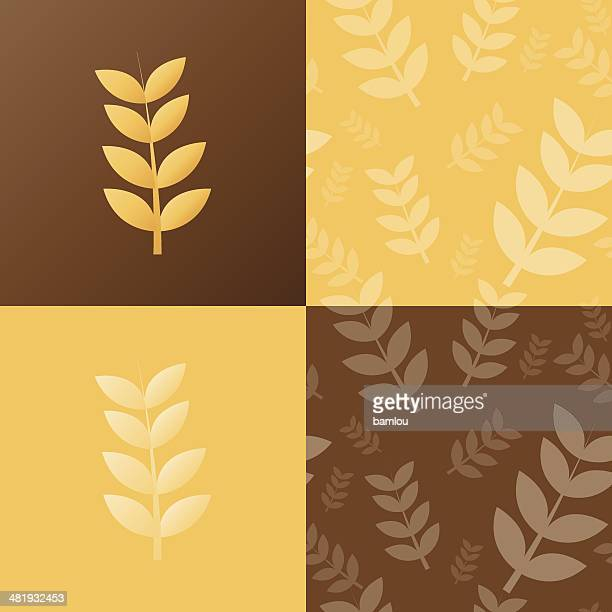 wheat and seamless pattern - bran stock illustrations, clip art, cartoons, & icons