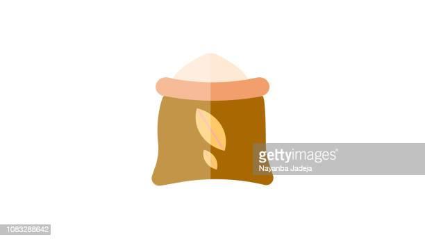 小麦袋アイコン - 布の袋点のイラスト素材/クリップアート素材/マンガ素材/アイコン素材