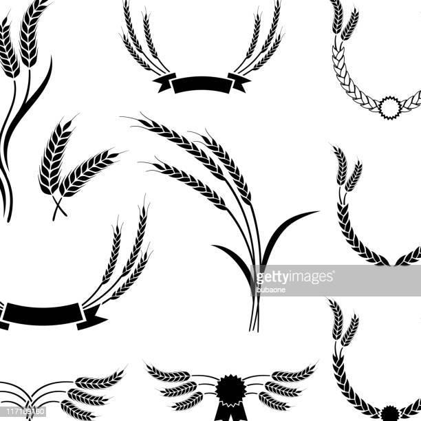 wheat black & white royalty free vector icon set. - bran stock illustrations, clip art, cartoons, & icons