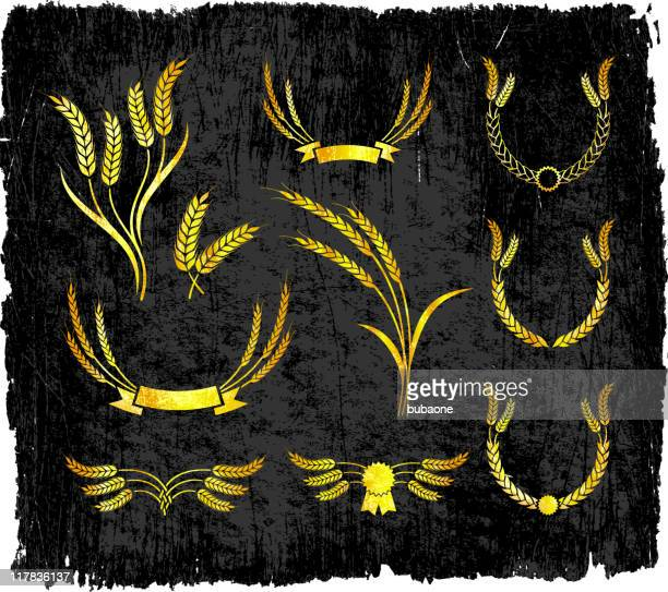 wheat designs on royalty free vector background - bran stock illustrations, clip art, cartoons, & icons