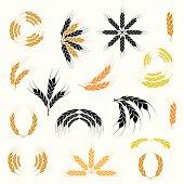 Wheat ear icon and wreath set