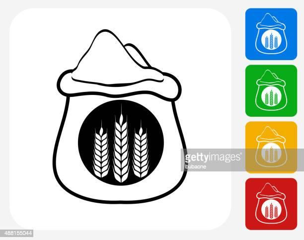 Wheat Flour Bag Icon Flat Graphic Design