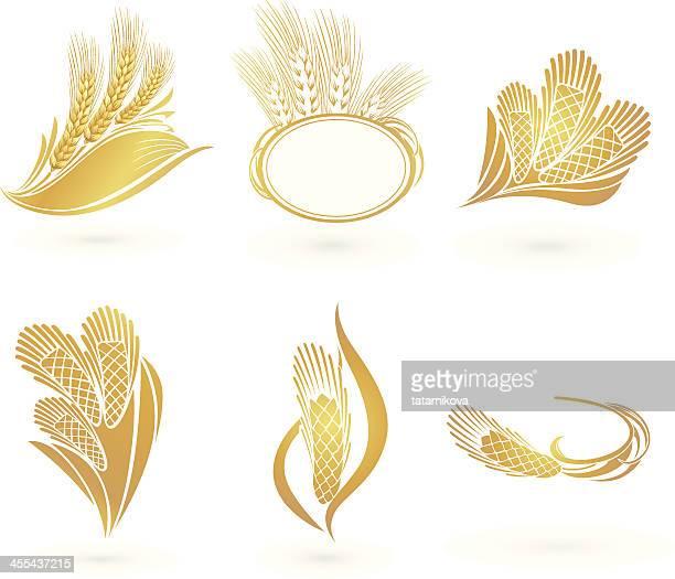 wheat icons - bran stock illustrations, clip art, cartoons, & icons