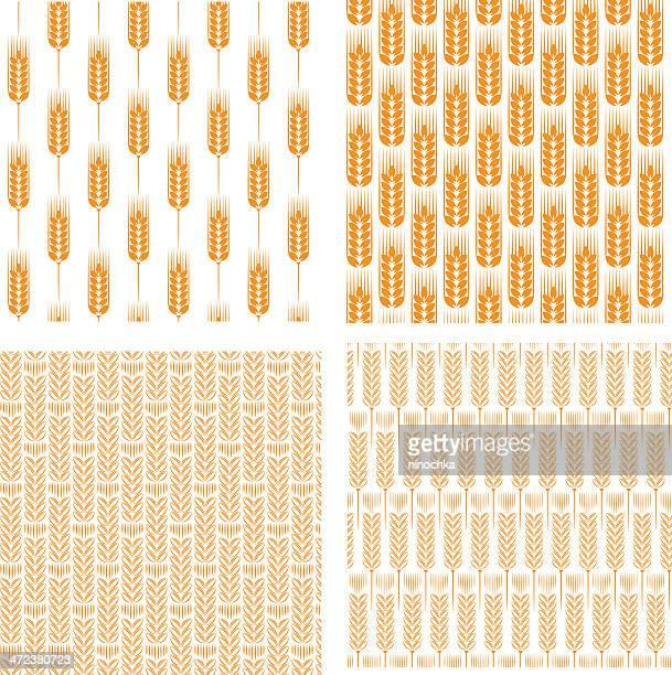 wheat patterns - barley stock illustrations, clip art, cartoons, & icons