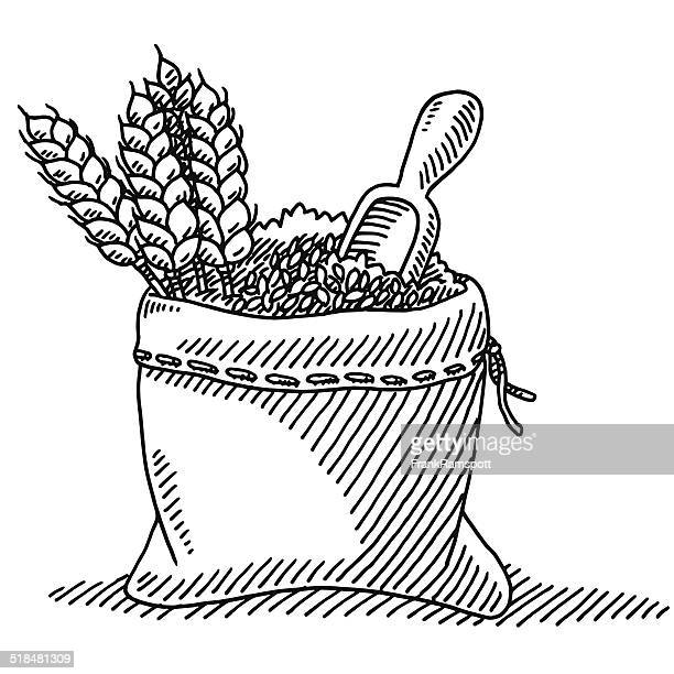 wheat plant grain sack drawing - black and white food stock illustrations