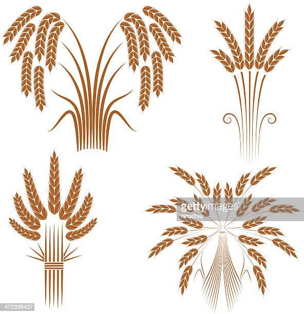 wheat sheaves - barley stock illustrations, clip art, cartoons, & icons