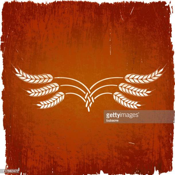 wheat wreath on royalty free vector background - wood stain stock illustrations, clip art, cartoons, & icons