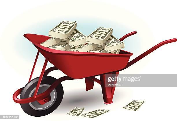 wheel barrow and money - wheelbarrow stock illustrations, clip art, cartoons, & icons