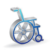 Wheel Chair 3d Glossy Vector Icon Design
