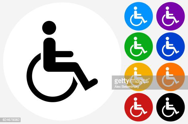 Wheel Chair User Icon on Flat Color Circle Buttons