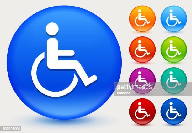 ilustraciones, imágenes clip art, dibujos animados e iconos de stock de icono de usuario de silla de ruedas en botones círculo brillante de color - accesibilidad para discapacitados