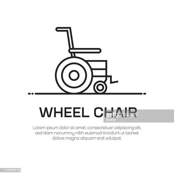 wheel chair vector line icon - simple thin line icon, premium quality design element - wheelchair stock illustrations, clip art, cartoons, & icons