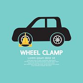 Wheel Clamp On Car Side View Vector Illustration