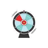 Wheel of fortune spinning vector icon illustration isolated on white