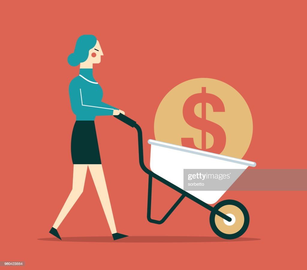 wheelbarrow - Businesswoman : stock illustration