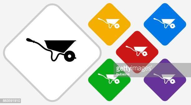 wheelbarrow color diamond vector icon - wheelbarrow stock illustrations, clip art, cartoons, & icons