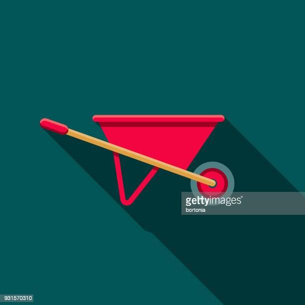wheelbarrow flat design gardening icon with side shadow - wheelbarrow stock illustrations, clip art, cartoons, & icons