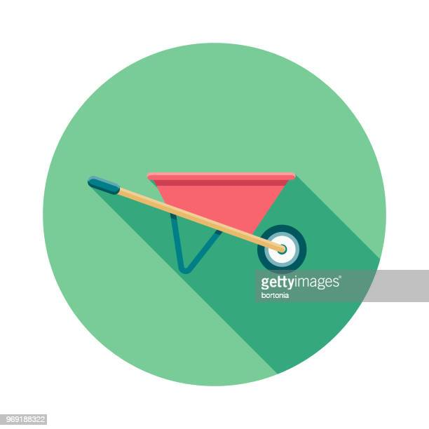wheelbarrow flat design springtime icon - wheelbarrow stock illustrations, clip art, cartoons, & icons