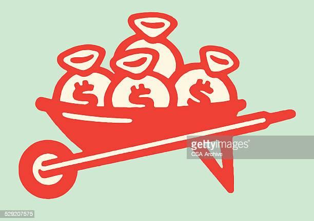 wheelbarrow full of money - wheelbarrow stock illustrations, clip art, cartoons, & icons
