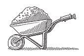 Wheelbarrow Heap Soil Drawing