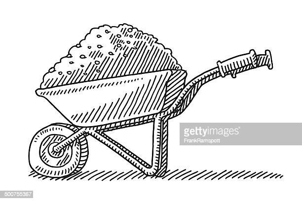 wheelbarrow heap soil drawing - wheelbarrow stock illustrations, clip art, cartoons, & icons