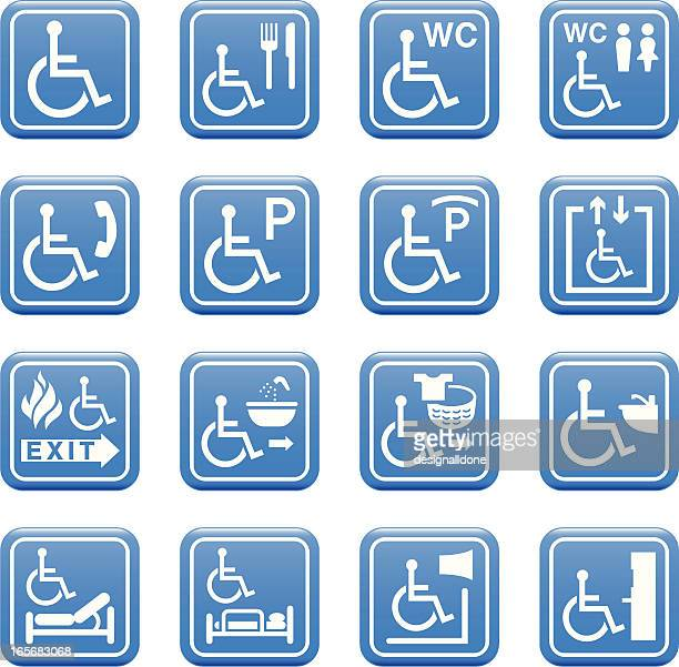 wheelchair access and facilities icons - disabled sign stock illustrations, clip art, cartoons, & icons