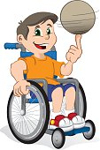 wheelchair boy child illustration with a ball, sport practitioner