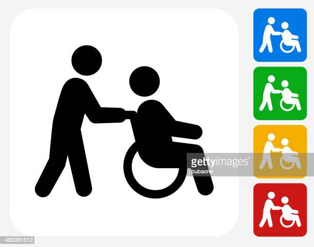 wheelchair caregiver icon flat graphic design - wheelchair stock illustrations, clip art, cartoons, & icons