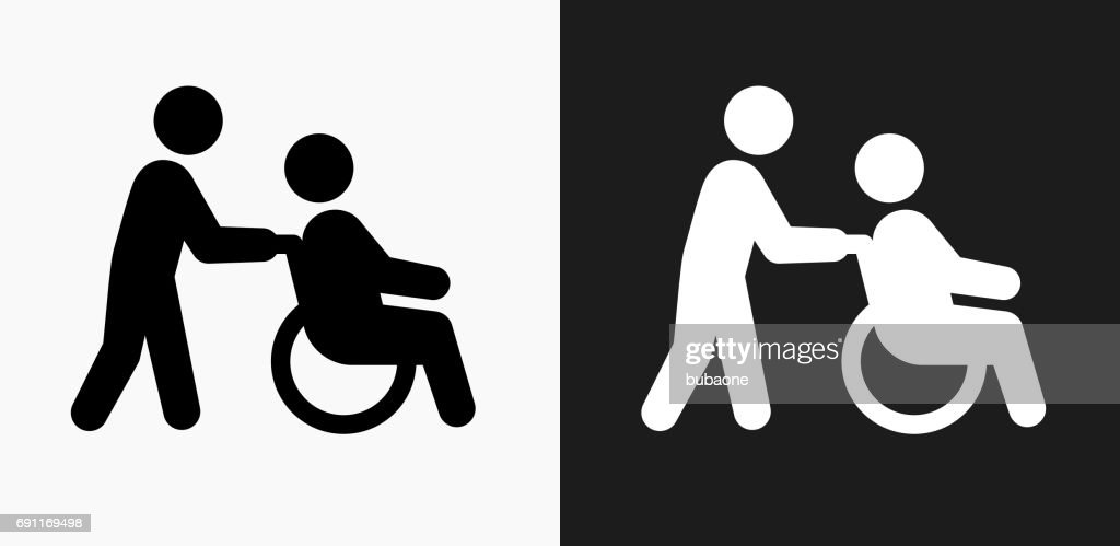 Wheelchair Caregiver Icon on Black and White Vector Backgrounds