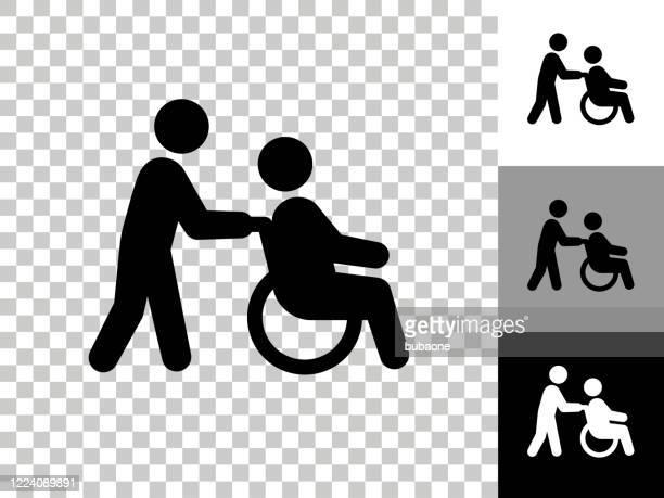 チェッカーボード透明背景の車椅子介護者アイコン - 車いす点のイラスト素材/クリップアート素材/マンガ素材/アイコン素材