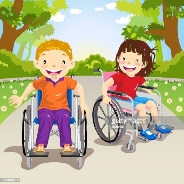 wheelchair child cruising around the park - paralysis stock illustrations, clip art, cartoons, & icons