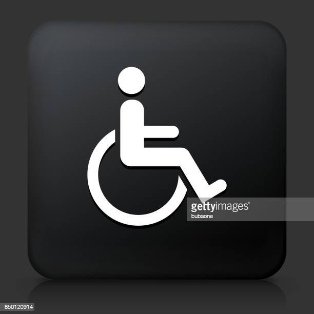 Wheelchair Disability on Black Square Button