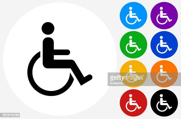 Wheelchair Disability on Flat Round Button