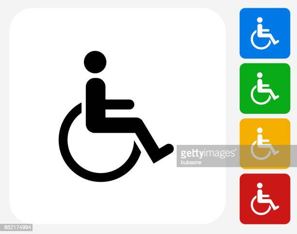 Wheelchair Disability on Flat Square Button
