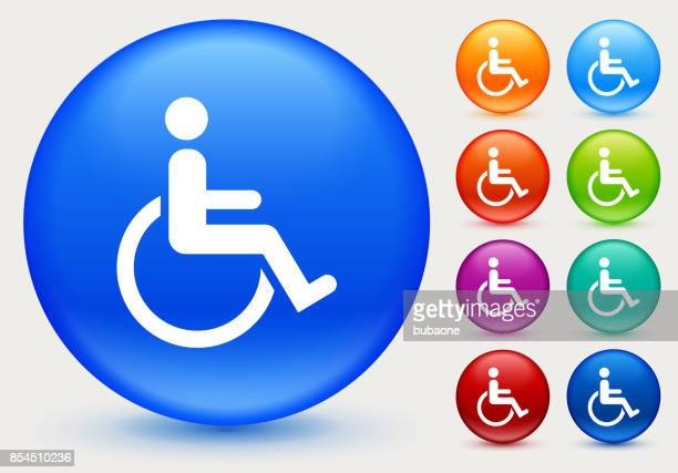 Wheelchair Disability on Shiny Blue Round Button