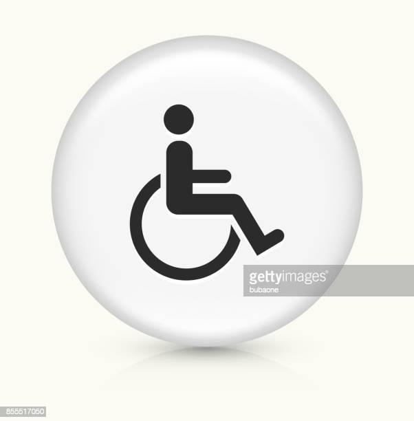 Discapacidad silla de ruedas en blanco botón redondo