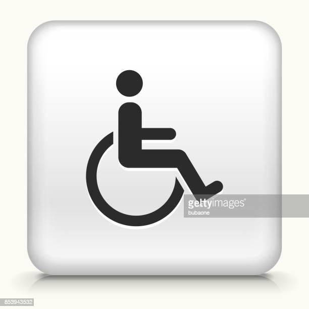 Wheelchair Disability on White Square Button