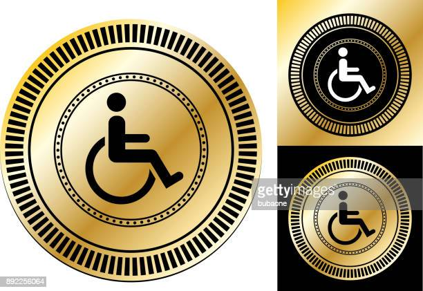 wheelchair disability sign. - assistive technology stock illustrations, clip art, cartoons, & icons