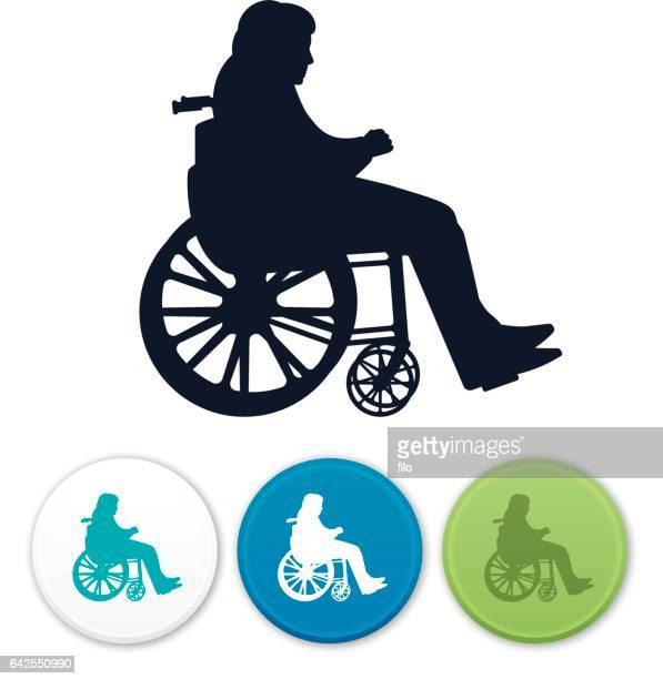 ilustraciones, imágenes clip art, dibujos animados e iconos de stock de silueta de discapacidad silla de ruedas - accesibilidad para discapacitados