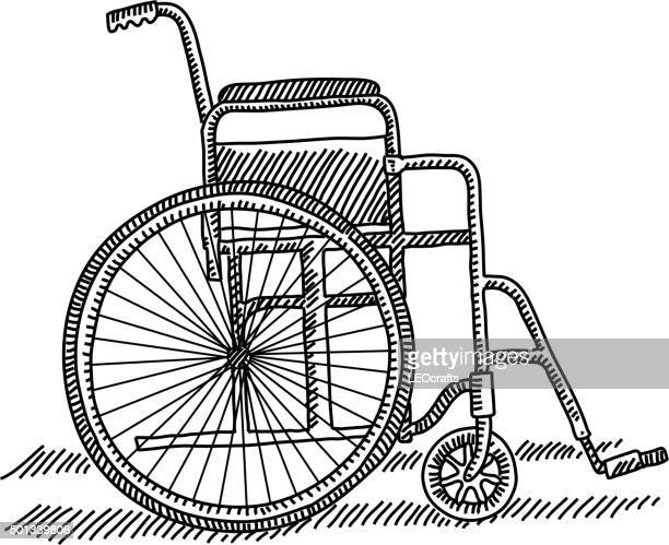 wheelchair drawing - wheelchair stock illustrations, clip art, cartoons, & icons