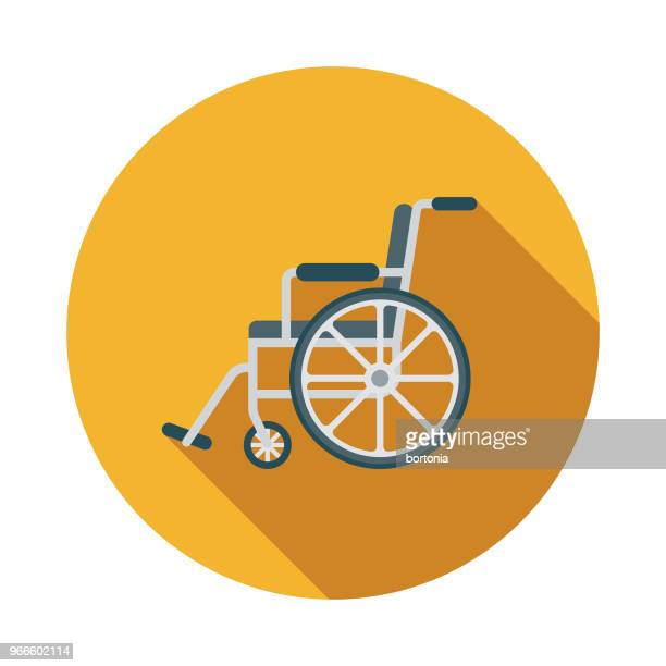 wheelchair flat design emergency services icon - wheelchair stock illustrations, clip art, cartoons, & icons
