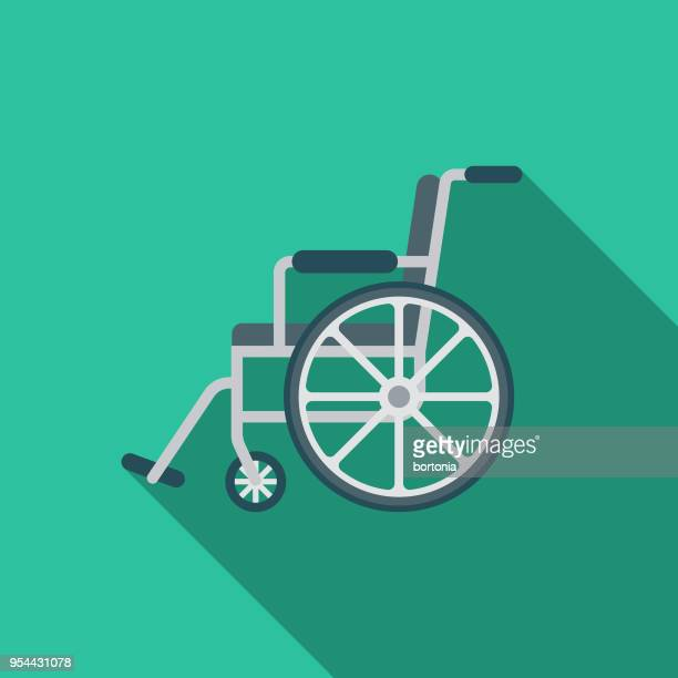wheelchair flat design medical supplies icon with side shadow - wheelchair stock illustrations, clip art, cartoons, & icons